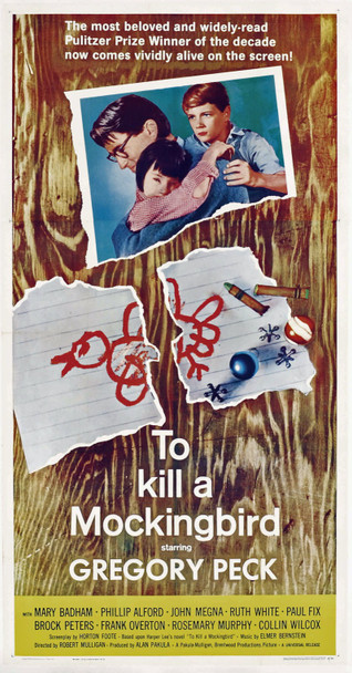 TO KILL A MOCKINGBIRD (1963) 6555 Original Universal Pictures Three Sheet Poster (41x81). Linen-backed.  Very fine condition.