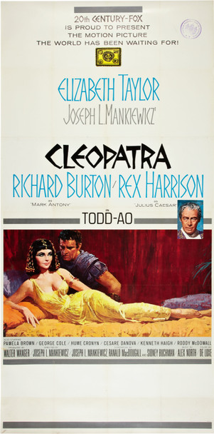 CLEOPATRA (1963) 6846 Original 20th Century-Fox Roadshow Three Sheet Poster (41x81).   Linen-Backed.  Near Mint.