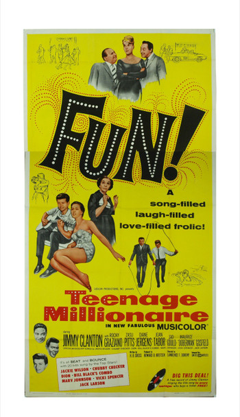 TEENAGE MILLIONAIRE (1961) 7325 Original United Artists Three Sheet Poster (41x81).  Folded.  Very Fine Condition.