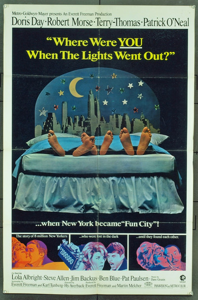 WHERE WERE YOU WHEN THE LIGHTS WENT OUT? (1968) 7754 Original MGM Style B One Sheet Poster (27x41). Folded.  Fine Condition.