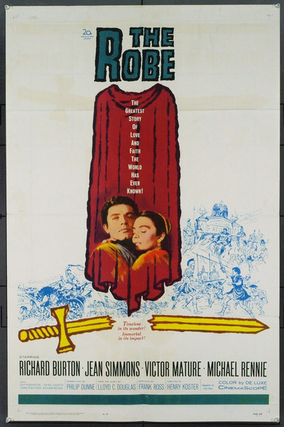 ROBE, THE (1953) 7858 Original 20th Century-Fox One Sheet Poster (27x41). Re-release of 1963. Very Fine.