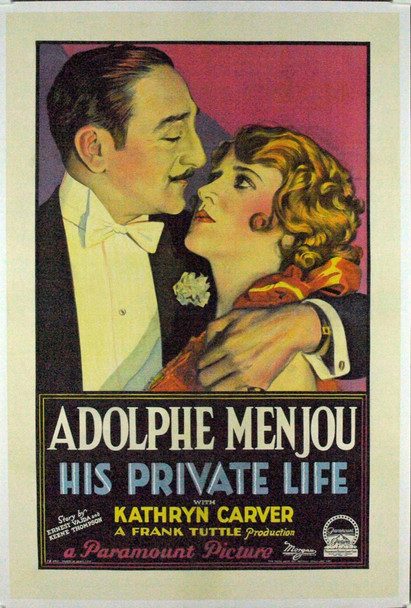 HIS PRIVATE LIFE (1928) 7940 Original Paramount Pictures One Sheet Poster (27x41).  Stone Lithograph.  Restored.  Very Fine.