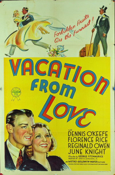 VACATION FROM LOVE (1938) 8064 Original MGM One Sheet Poster (27x41). Stone Lithograph.  Folded.  Very fine condition.