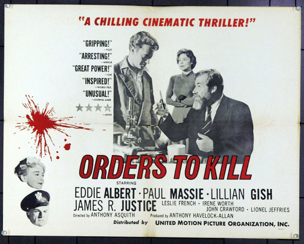 ORDERS TO KILL (1958) 8066 Original United Motion Pictures Organization Half Sheet Poster (22x28).  Folded. Fine Plus.