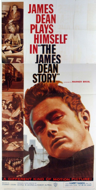 JAMES DEAN STORY, THE (1957) 8632 Original Warner Brothers Three Sheet Poster. Folded.  Fine Plus Condition.