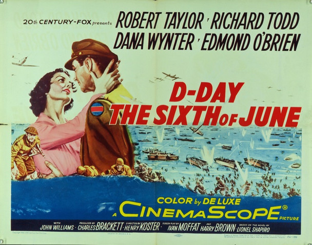 D-DAY THE SIXTH OF JUNE (1956) 8667 Original 20th Century-Fox Half Sheet Poster (22x28).  Folded. Fine plus condition.