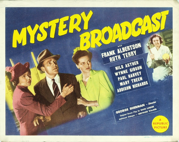 MYSTERY BROADCAST (1943) 8924 Original Republic Pictures Title Lobby Card (11x14).  Very good condition.
