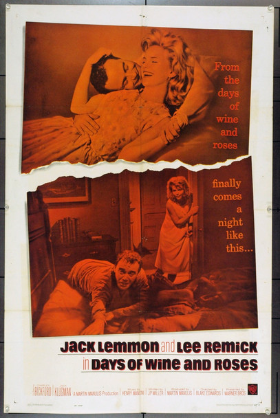 DAYS OF WINE AND ROSES (1963) 9167 Original Warner Brothers One Sheet Poster (27x41). Folded. Fine Plus.