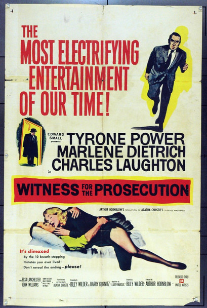 WITNESS FOR THE PROSECUTION (1958) 9172 Original United Artists One Sheet Poster (27x41). Folded. Good.