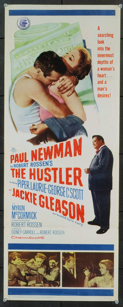 HUSTLER, THE (1961) 9310 Original 20th Century-Fox Insert Poster (14x36).  Folded.  Very Fine Condition.