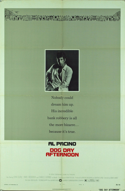 DOG DAY AFTERNOON (1975) 9379 Original Warner Brothers One Sheet Poster (27x41).  Folded.  Very good condition.
