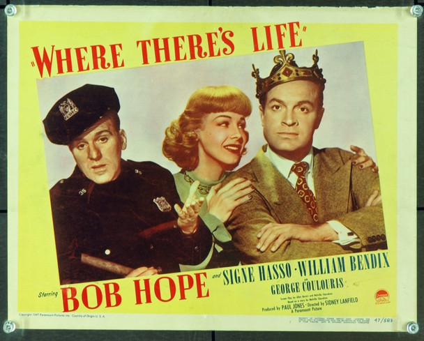 WHERE THERE'S LIFE (1947) 9405 Original Paramount Pictures Scene Lobby Card (11x14).  Very Fine.