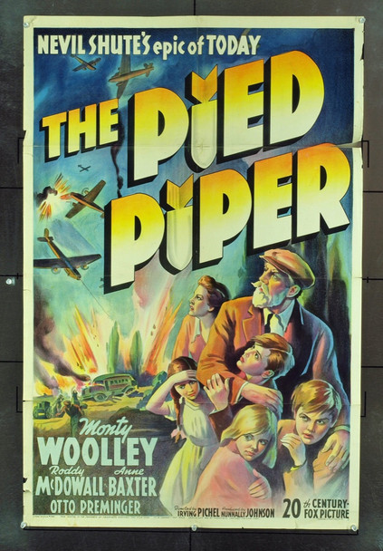 PIED PIPER, THE (1942) 9564 Original 20th Century-Fox One Sheet Poster (27x41).  Stone Lithograph.  Folded. Very Good Condition.