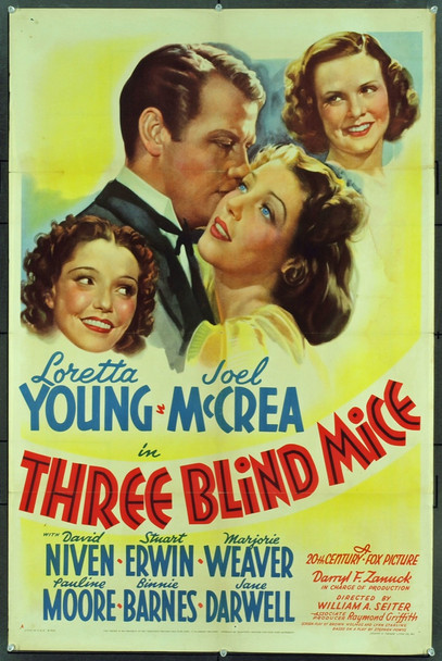 THREE BLIND MICE (1938) 9570 Original 20th Century-Fox One Sheet Poster (27x41). Folded. Fine Plus To Very Fine Condition.