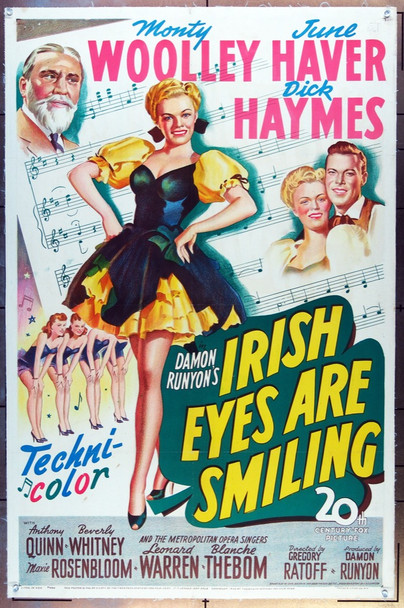 IRISH EYES ARE SMILING (1944) 9578 Original 20th Century-Fox One Sheet Poster (27x41). Linen-backed. Stone Lithograph. Very Fine.