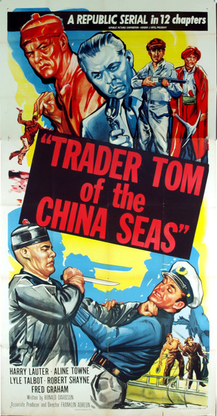 TRADER TOM OF THE CHINA SEAS (1954) 9768 Original Republic Pictures Three Sheet Poster (41x81).  Folded.  Fine Condition.
