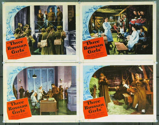 THREE RUSSIAN GIRLS (1943) 9819 Original United Artists Group of Four Lobby Cards (11x14). Very Fine to Very Fine Plus.