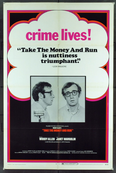 TAKE THE MONEY AND RUN (1969) 9954 Original United Artists One Sheet Poster (27x41).  Folded.  Fine Plus To Very Fine Condition.