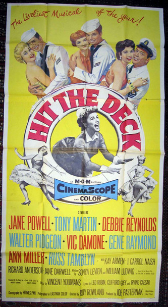 HIT THE DECK (1955) 10001 Original MGM Three Sheet Poster (41x81). Folded. Fine Plus