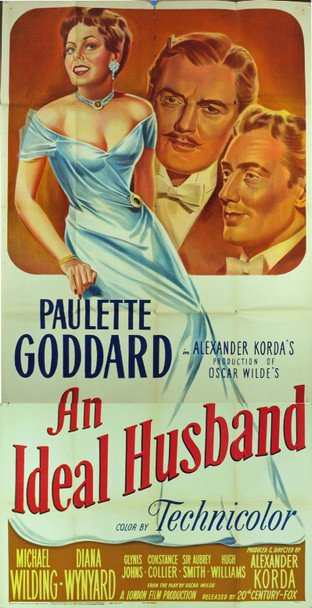 IDEAL HUSBAND, AN (1948) 10165 Original 20th Century Fox Three Sheet Poster (41x81).  Stone Lithograph.  Folded. Very Good Condition.