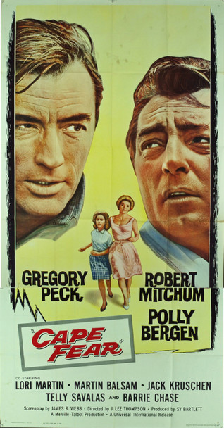 CAPE FEAR (1962) 10167 Original Universal Pictures Three Sheet Poster (41x81). Folded.  Fine Plus Condition.