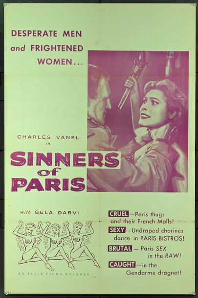 SINNERS OF PARIS (1958) 10666 Original Ellis Films One Sheet Poster (27x41). Folded. Very Fine Condition.