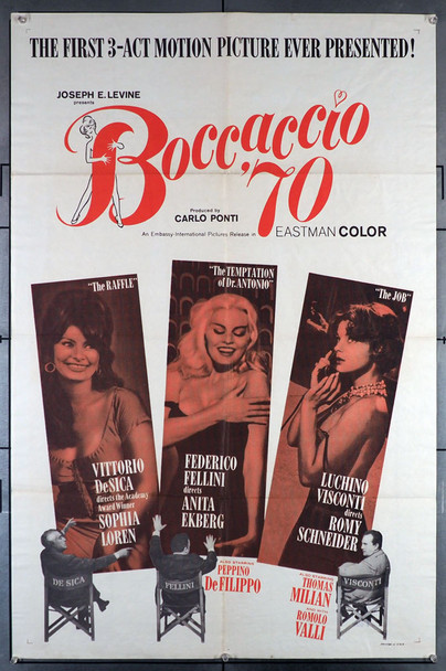 BOCCACCIO '70 (1962) 10959 Original Embassy Pictures One Sheet Poster (27x41). Folded. Very Fine Plus Condition.