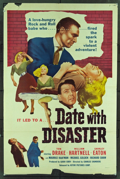 DATE WITH DISASTER (1957) 11046 Original Astor Pictures One Sheet Poster (27x41). FAIR Condition Only  Folded