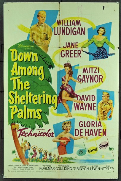 DOWN AMONG THE SHELTERING PALMS (1951) 11050 Original 20th Century-Fox One Sheet Poster (27x41). Good Condition