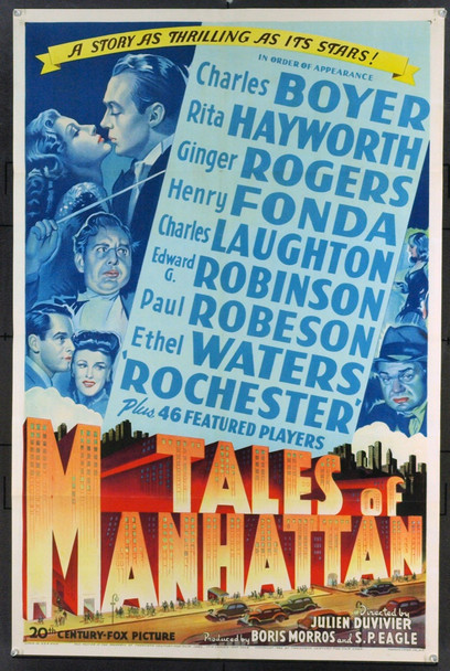 TALES OF MANHATTAN (1942) 11176 Original 20th Century Fox One Sheet (27x41).  Folded. Near Mint.
