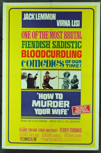 HOW TO MURDER YOUR WIFE (1965) 11462 Original United Artists Style B One Sheet Poster (27x41).  Folded.  Good Condition.