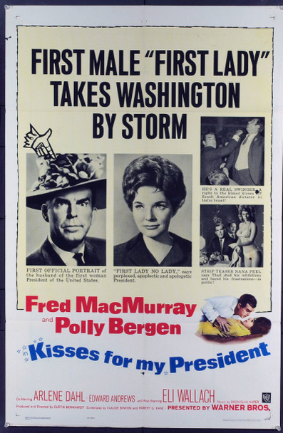 KISSES FOR MY PRESIDENT (1964) 11463 Original Warner Brothers One Sheet Poster (27x41). Folded. Fine condition.