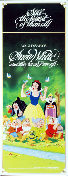 SNOW WHITE AND THE SEVEN DWARFS (1937) 12341 Original Walt Disney Productions Insert Poster (14x36). 1987 Reissue. Rolled. Very fine condition.