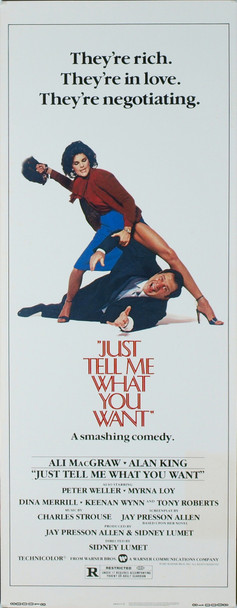 JUST TELL ME WHAT YOU WANT (1980) 12348 Original Paramount Pictures Insert Poster (14x36). Never Folded. Very Fine Condition.