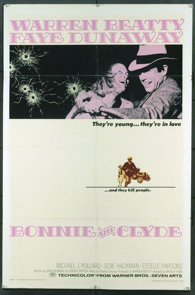 BONNIE AND CLYDE (1967) 12741 Original Warner Brothers One Sheet Poster (27x41).  Folded.  Fine Plus Condition.