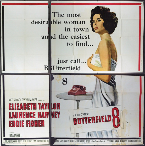 BUTTERFIELD 8 (1960) 13607 Original MGM Six Sheet Poster (81x81).  Folded and Unassembled.  Good Plus Condition.
