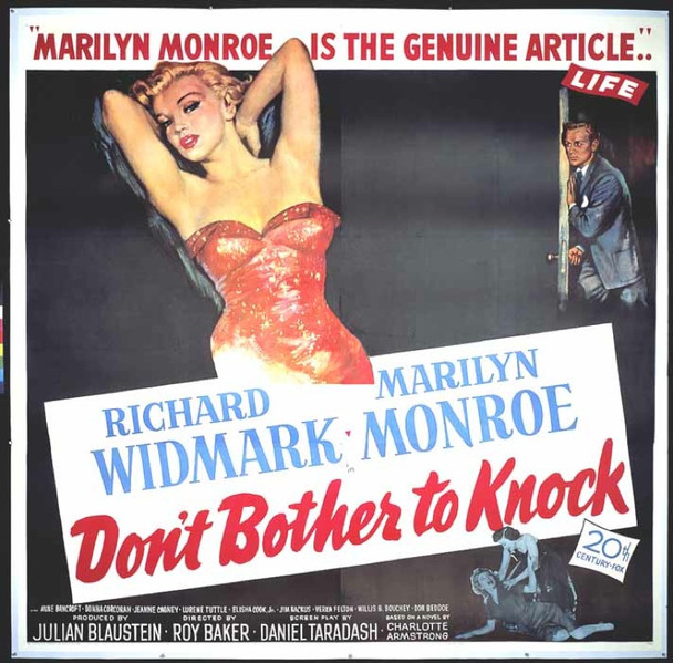 DON'T BOTHER TO KNOCK (1952) 14471 DON'T BOTHER TO KNOCK Original 20th Century-Fox Six Sheet Poster (81x81). Linen-backed. Very fine.