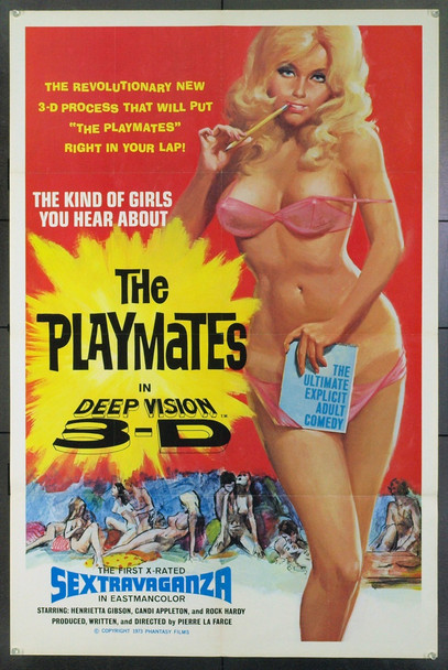PLAYMATES IN DEEP VISION 3-D, THE (1974) 14768 THE PLAYMATES Original Phantasy Films One Sheet Poster (27x41). Folded. Very Fine.