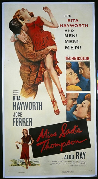 MISS SADIE THOMPSON (1953) 15196 Original Columbia Pictures Three Sheet Poster (41x81). Linen-backed. Very fine.