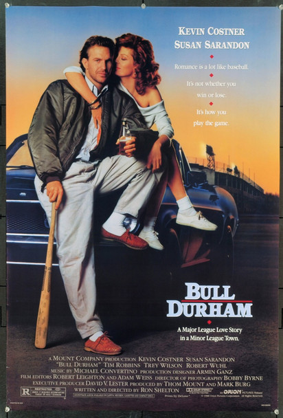 BULL DURHAM (1988) 15958 Original Orion Pictures One Sheet Poster (27x41).  Rolled.  Very Fine Condition.