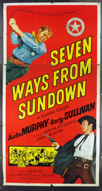 SEVEN WAYS FROM SUNDOWN (1960) 16017 Original Universal Pictures Three Sheet Poster (41x81). Folded. Good.