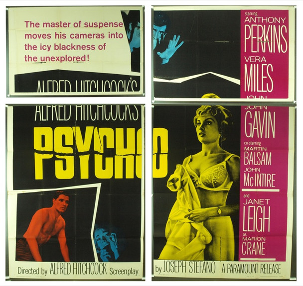 PSYCHO (1960) 16231 Original Paramount Pictures Six Sheet Poster (81x81).  Fine Plus.