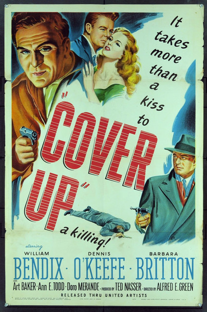COVER-UP (1949) 16401 Original United Artists One sheet Poster (27x41).  Stone Lithograph. Folded. Fine Plus Condition.