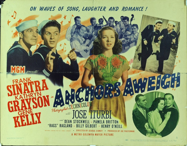 ANCHORS AWEIGH (1945) 16411 Original MGM Half Sheet Poster (22x28). Folded. Very good condition.