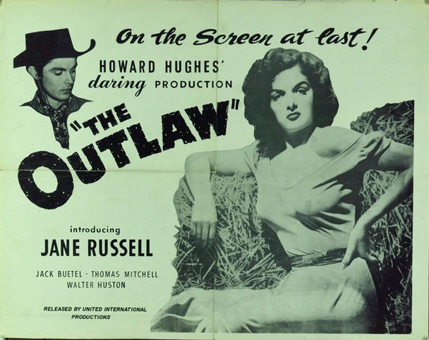 OUTLAW, THE (1943) 16412 Original United International Productions Re-Release (c1960) Half Sheet Poster (22x28). Folded. Fine Plus Condition.
