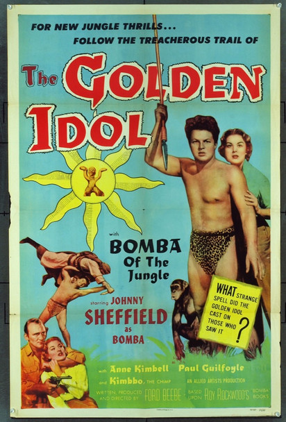 GOLDEN IDOL, THE (1954) 16460 Original Allied Artists One Sheet Poster (27x41).  Folded.  Fine Plus Condition.