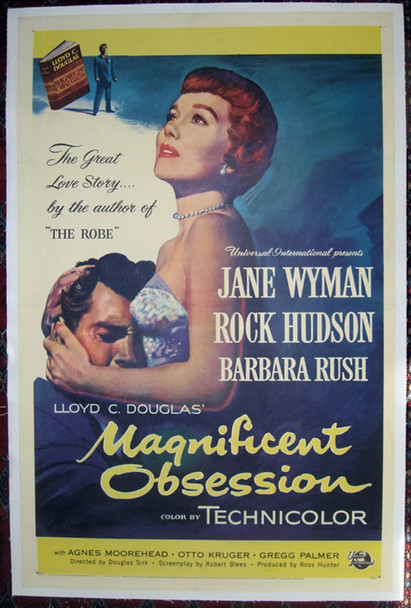 MAGNIFICENT OBSESSION (1954) 16591 Original Universal Pictures One Sheet Poster (27x41). Linen-Backed. Very Fine Condition.