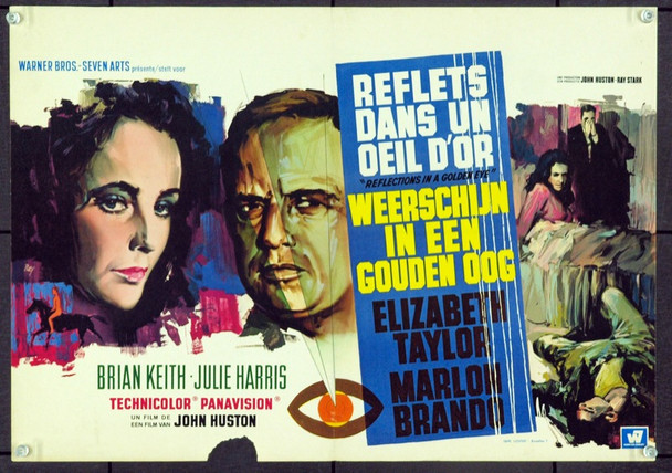 REFLECTIONS IN A GOLDEN EYE (1967) 17083 Original Belgian Poster (13x21). Good Condition.
