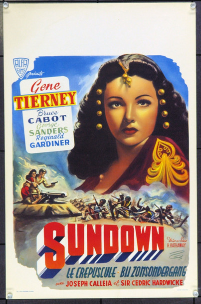 SUNDOWN (1941) 17091 Original Belgian Poster (13x21). Unfolded. Very Fine.