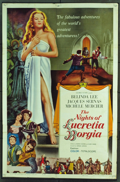 NIGHTS OF LUCRETIA BORGIA, THE (1960) 17229 Original Colombia Pictures One Sheet Poster (27x41). Folded. Very good condition.
